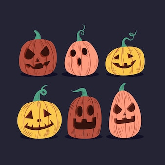Hand gezeichnete halloween-kürbiskollektion