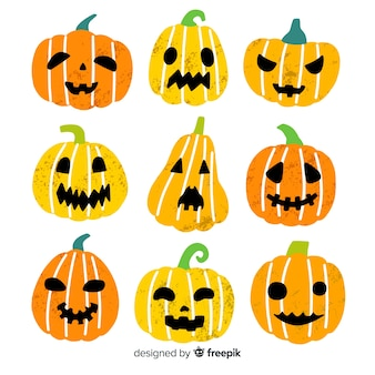 Hand gezeichnete halloween-kürbissammlung