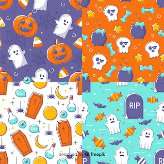 Hand gezeichnete halloween-mustersammlung