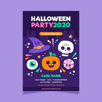 Hand gezeichnete halloween-partyplakatschablone