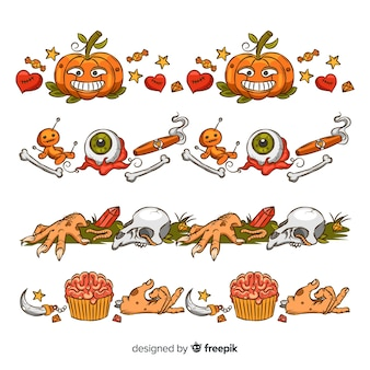 Hand gezeichnete halloween-rahmensammlung