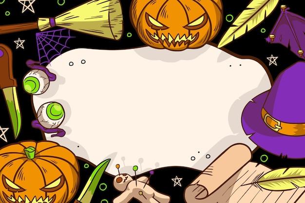 Hand gezeichnete halloween-rahmenschablone