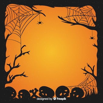 Hand gezeichnete halloween-schädel und spinnennetzrahmen
