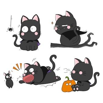 Hand gezeichnete halloween-schwarze katzensammlung