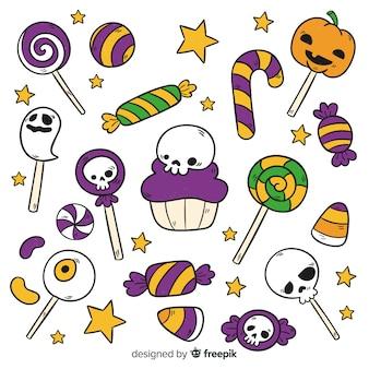 Hand gezeichnete halloween-süßigkeitssammlung