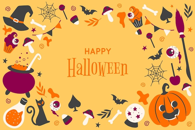 Hand gezeichnete halloween-tapete