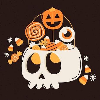 Hand gezeichnete halloween-tasche