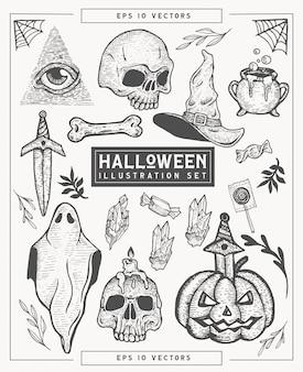 Hand gezeichnete halloween themenorientierte illustrationsmenge