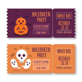 Hand gezeichnete halloween-ticketvorlage