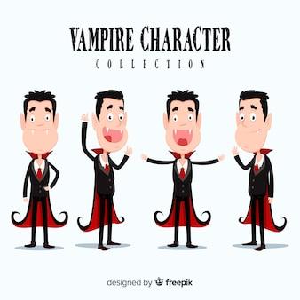 Hand gezeichnete halloween-vampirschartsammlung