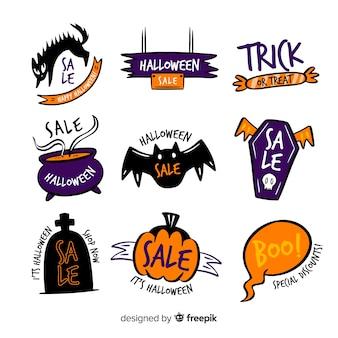 Hand gezeichnete halloween-verkaufsaufklebersammlung