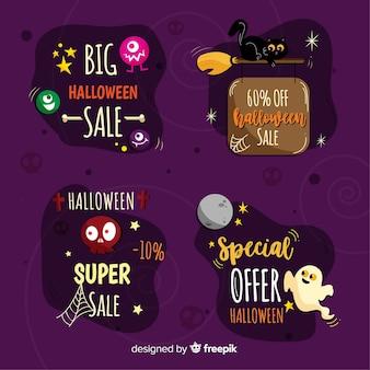 Hand gezeichnete halloween-verkaufsausweissammlung