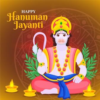 Hand gezeichnete hanuman jayanti illustration
