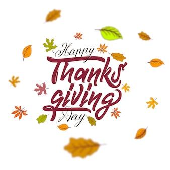 Hand gezeichnete happy thanksgiving typografie