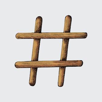 Hand gezeichnete hashtagillustration