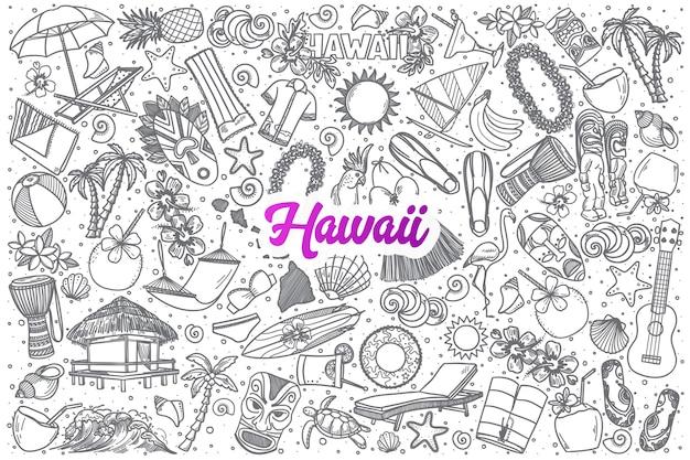 Hand gezeichnete hawaii gekritzel set hintergrund mit lila schriftzug