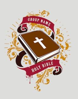 Hand gezeichnete heilige bibel mit bändern