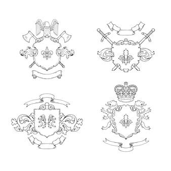Hand gezeichnete heraldik