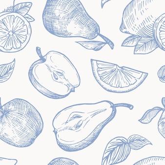 Hand gezeichnete herbstfrüchte ernten nahtloses hintergrundmuster. orangen, zitrone, äpfel und birnen skizzen karte oder cover vorlage