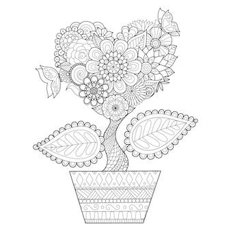 Hand gezeichnete herzpflanze