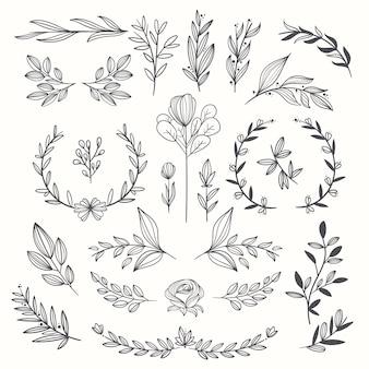 Hand gezeichnete hochzeit ornamente sammlung