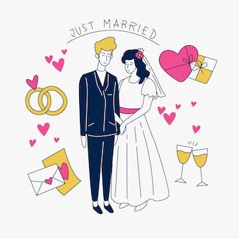 Hand gezeichnete hochzeitspaare mit gerade verheiratetem zeichen