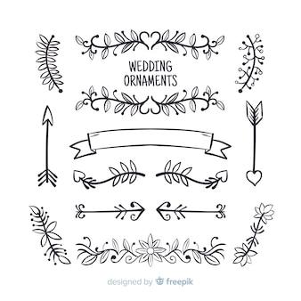 Hand gezeichnete hochzeitsverzierungen eingestellt