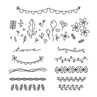 Hand gezeichnete Hochzeitsverzierungen mit Blättern