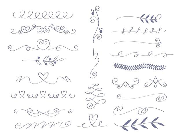 Hand gezeichnete hochzeitsverzierungen