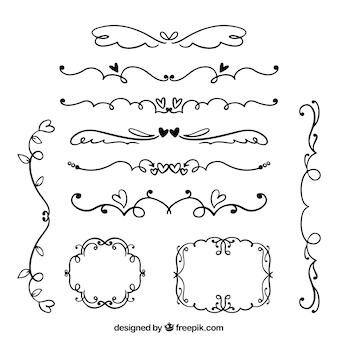 Hand gezeichnete Hochzeitsverzierungssammlung