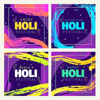 Hand gezeichnete holi festival instagram beiträge sammlung
