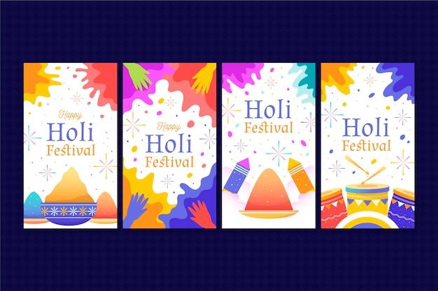 Hand gezeichnete holi festival instagram geschichten sammlung