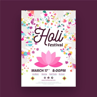 Hand gezeichnete holi festival-plakatschablone