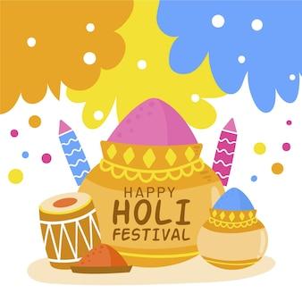 Hand gezeichnete holi festival pulver illustration Kostenlosen Vektoren