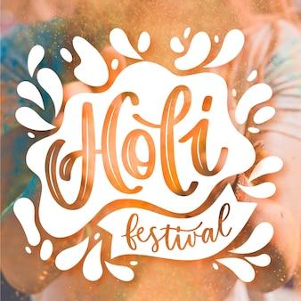 Hand gezeichnete holi festival schriftzug design