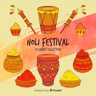 Hand gezeichnete holi festivalelemente