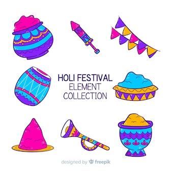 Hand gezeichnete holi festivalelementsammlung