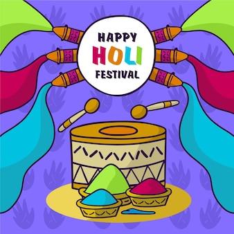Hand gezeichnete holi festivalillustration