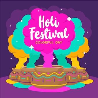 Hand gezeichnete holi festivaltapete