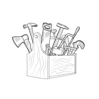 Hand gezeichnete holzarbeitausrüstung im hölzernen werkzeugkasten lokalisiert