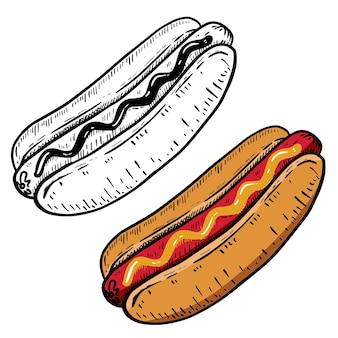 Hand gezeichnete hot dog illustration.