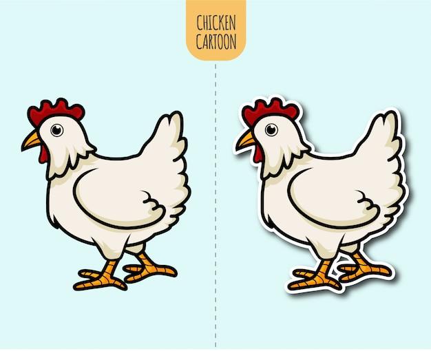 Hand gezeichnete hühnerkarikaturillustration mit aufkleberentwurfsoption
