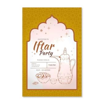 Hand gezeichnete iftar einladungsschablone