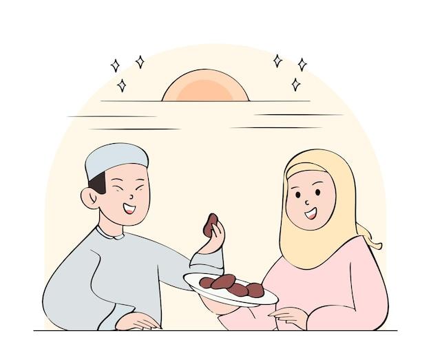 Hand gezeichnete iftar illustration mit jungem paar, das eine mahlzeit hat