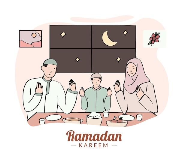 Hand gezeichnete iftar illustration mit muslimischer familie, die eine mahlzeit hat