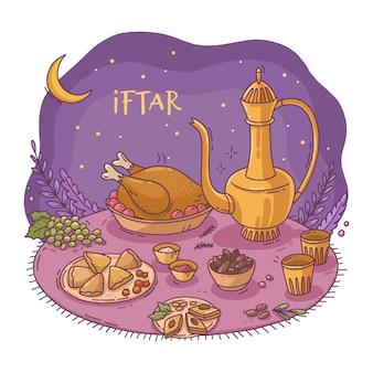Hand gezeichnete iftar illustration