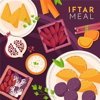 Hand gezeichnete iftar mahlzeitillustration