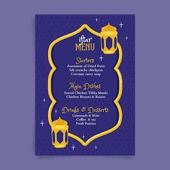 Hand gezeichnete iftar menüvorlage