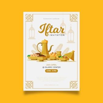 Hand gezeichnete iftar vertikale plakatschablone