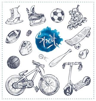 Hand gezeichnete ikonen der sportausrüstung. skizzieren